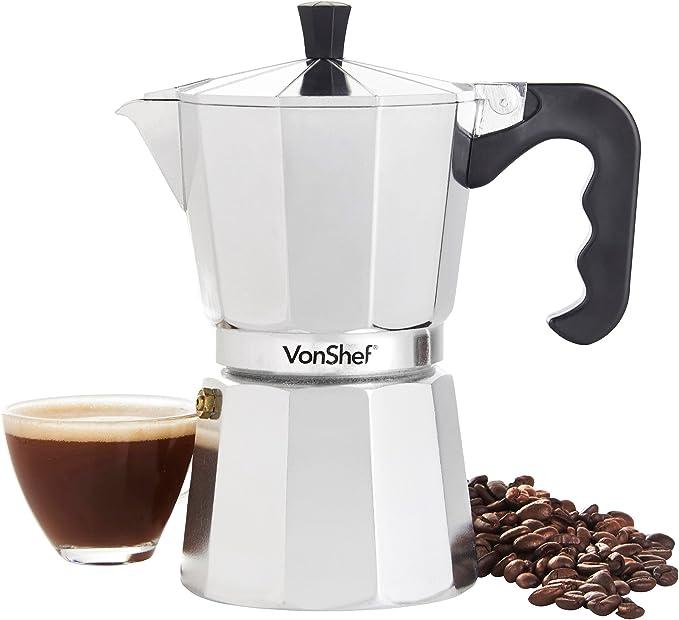 VonShef Cafetera italiana exprés con filtro de repuesto 300ml Plata: Amazon.es: Hogar