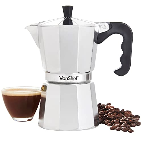 VonShef 6 Cup/300ml Italian Espresso Coffee Maker Moka Stove Top Macchinetta Includes a Replacement Gasket and Filter