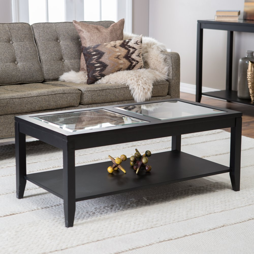 Shelby Glass Top Coffee Table with Quatrefoil Underlay by Finley Home