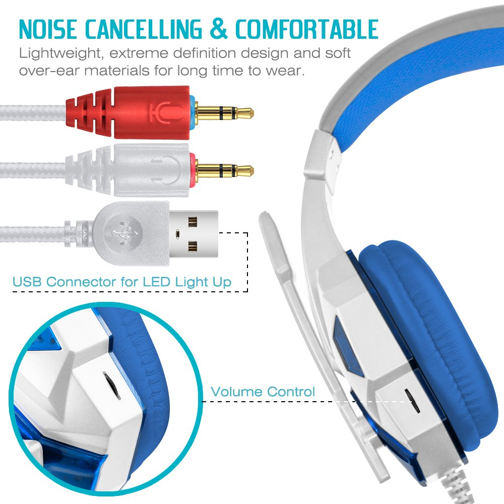 Gaming Headset with Mic and LED Light for Laptop Computer, Cellphone, PS4 and so on, DLAND 3.5mm Wired Noise Isolation Gaming Headphones - Volume Control.(White and Blue) by DLAND (Image #4)