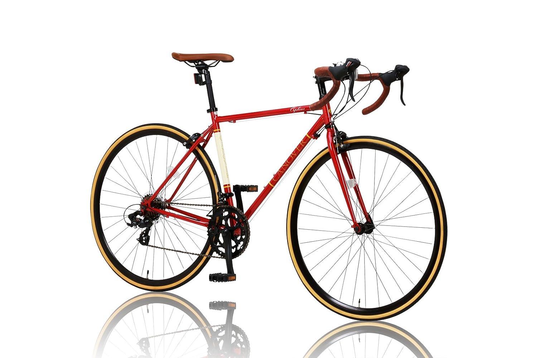 CANOVER(カノーバー)クラシック ロードバイク 700C シマノ14段変速 CAR-013 (ORPHEUS) クロモリフレーム フロントLEDライト付 [メーカー保証1年] B012CCL0AW レッド レッド