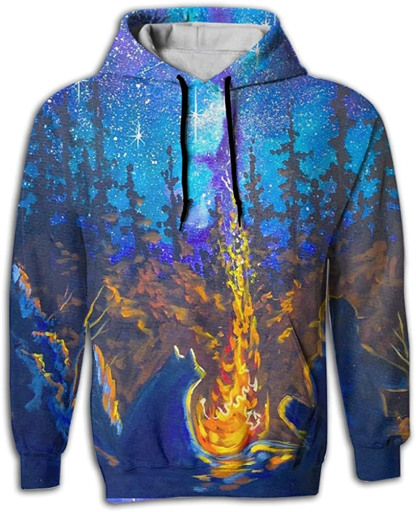 FUSALIN Flaming Forest Campfire PaintingUnisex 3D Printed Sweatshirt Casual Pullover Hoodie With Big Pockets
