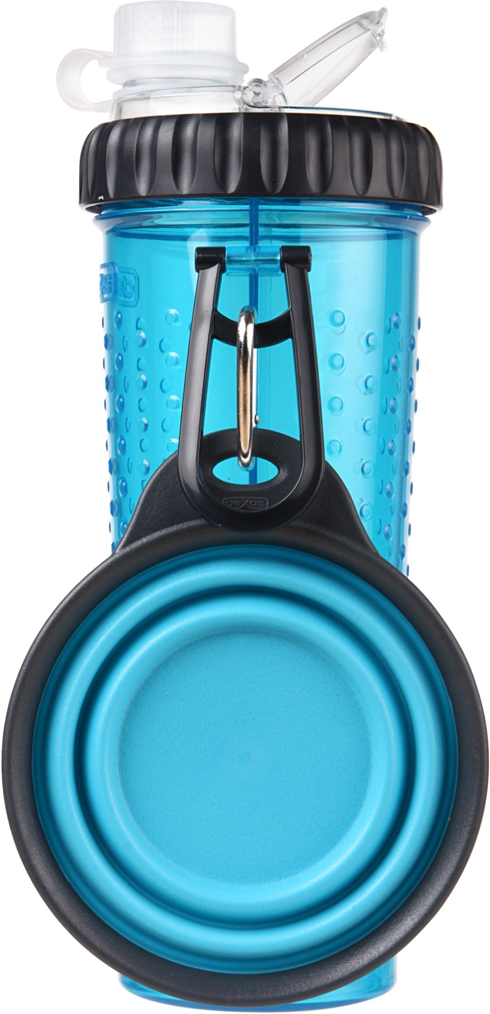 Dexas Popware for Pets Snack Duo Dual Chambered Hydration Bottle and Snack Container with Collapsible Pet Cup, Blue