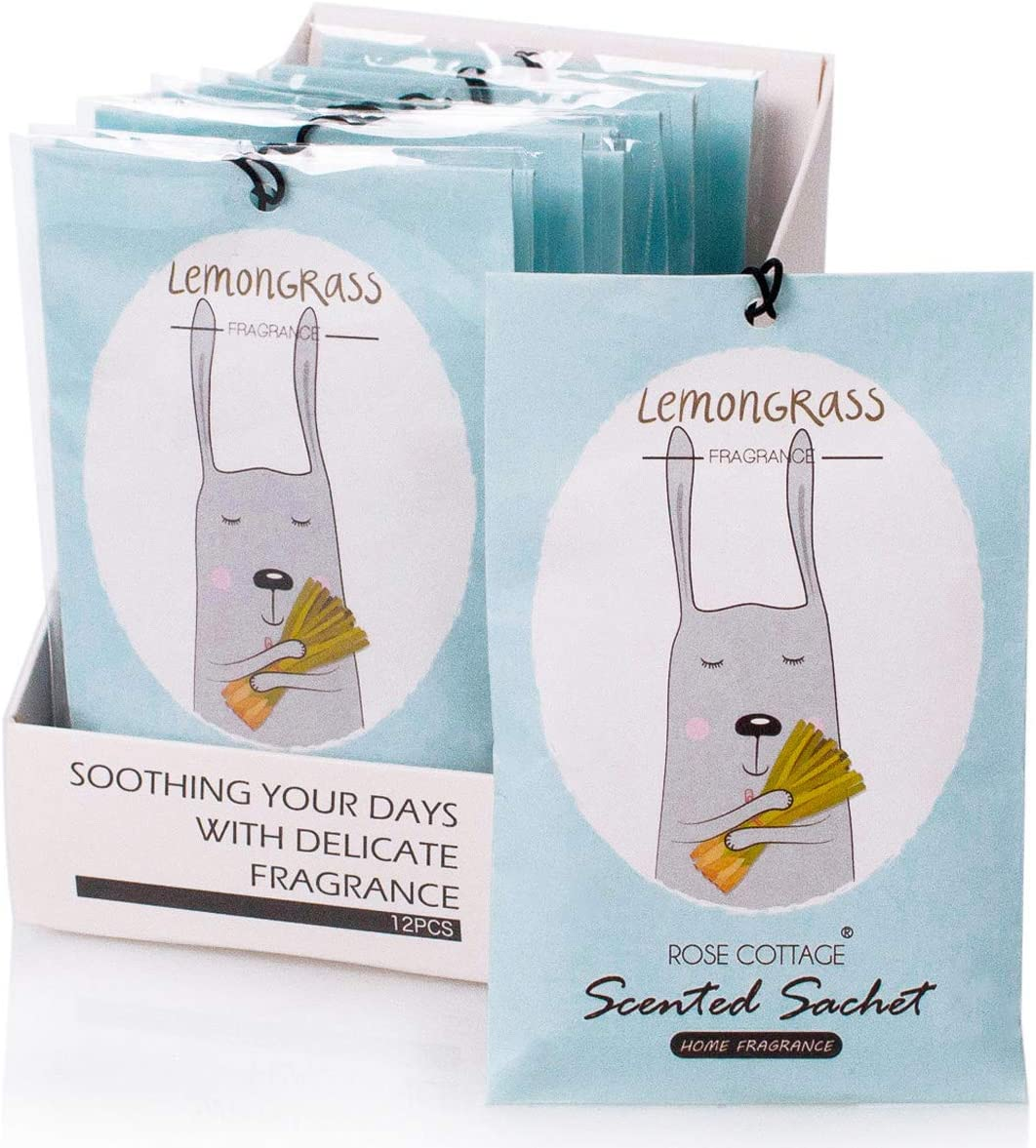12Packs Lemongrass Closet Air Freshener Deodorizer Scented Sachets Bags for Drawer and Closet 16 Scents Optional-ROSE COTTAGE