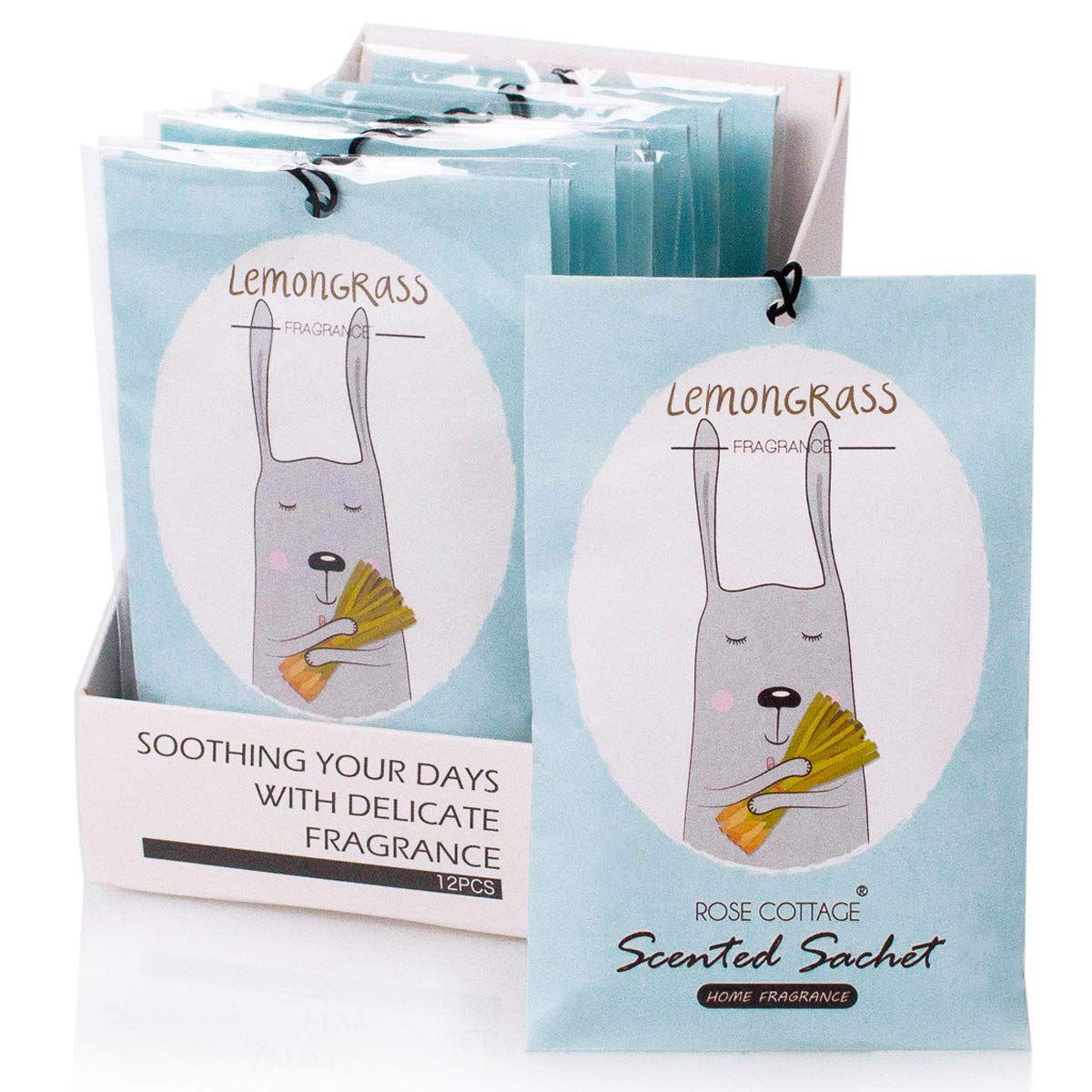 12Packs Lemongrass Closet Air Freshener Deodorizer Scented Sachets Bags for Drawer and Closet 16 Scents Optional-ROSE COTTAGE by Rose Cottage
