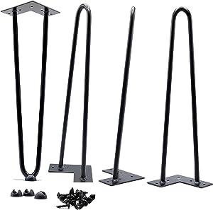 26 Inch Hairpin Legs 1/2 Inch Thick - Satin Black - Leg Protectors, Screws, Set of 4 – Easy to Install - Metal Legs - Desk Legs - Furniture Legs - Mid Century Modern by Homeland Hardware