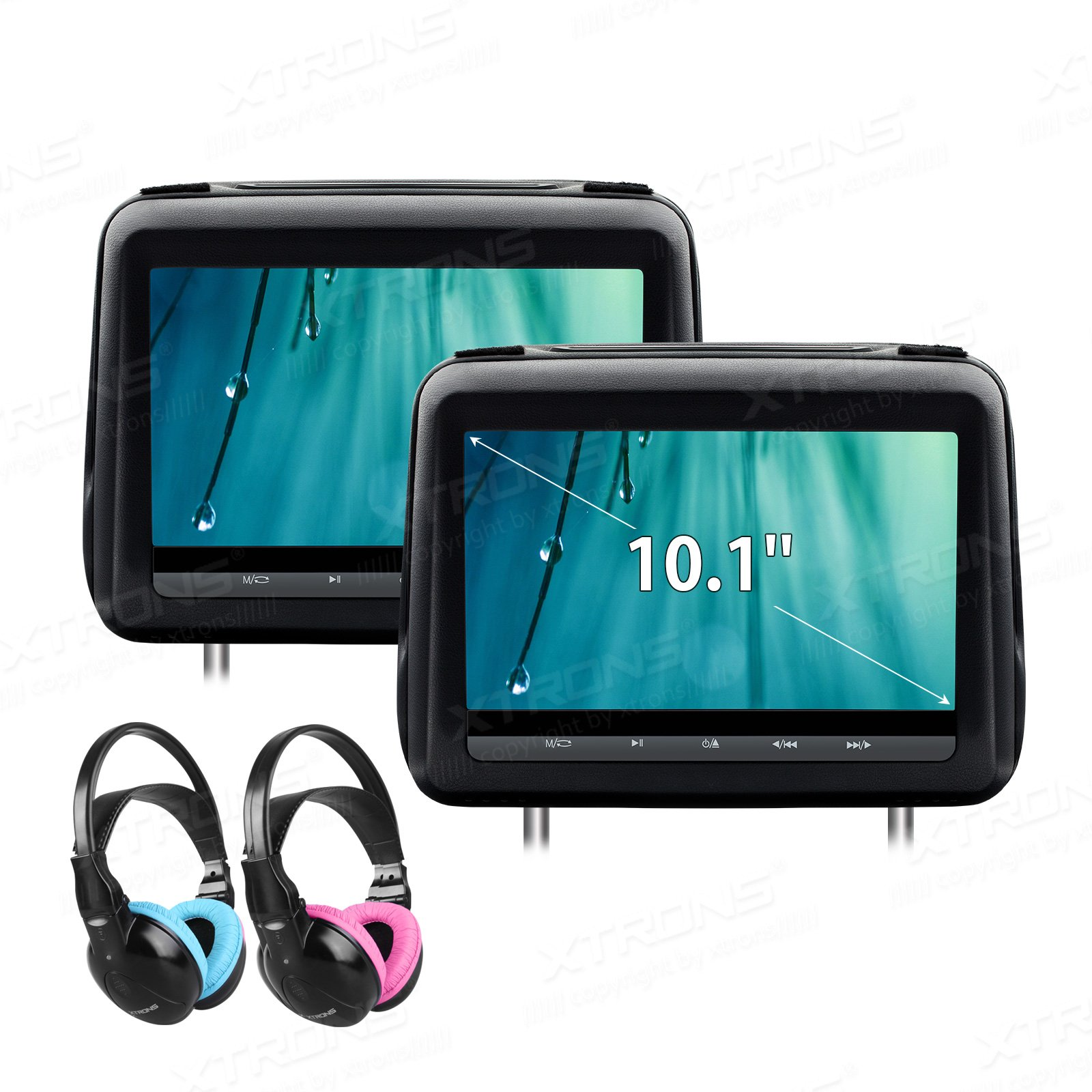 XTRONS 10.1 Inch HD Digital Screen Touch Panel Leather Cover Car Headrest DVD Player 1080P Video with HDMI Port Children IR Headphones Included(Blue&Pink)
