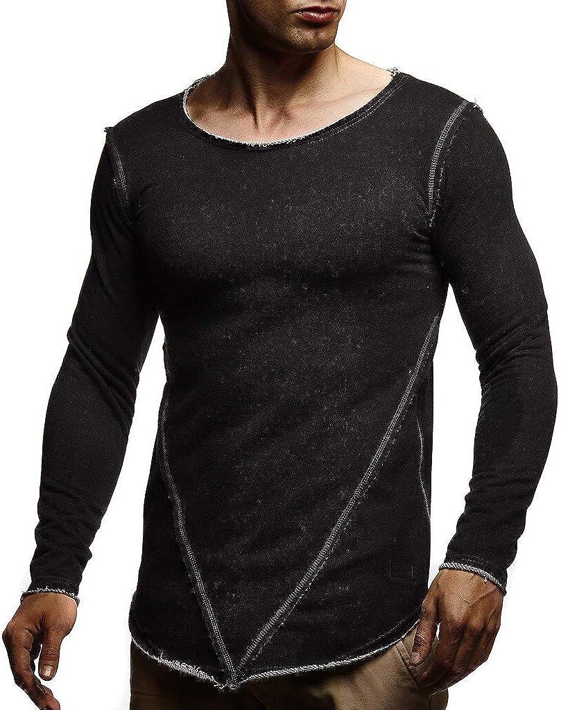 Leif Nelson Herren Pullover Rundhals-Ausschnitt Schwarzer M/änner Longsleeve d/ünner Pulli Sweatshirt Langarmshirt Crew Neck Jungen Hoodie T-Shirt Langarm Oversize LN8189