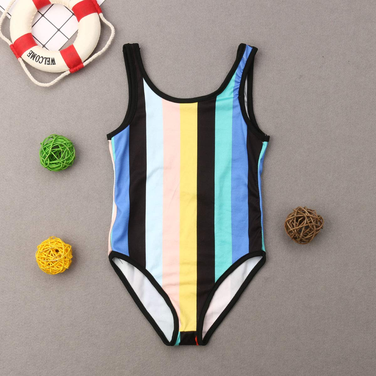 AMILIEe Mommy and Me One Piece Monokini Swimsuit Family Matching Mother Daughter Color Stripe Printed Swimwear Bathing Suit