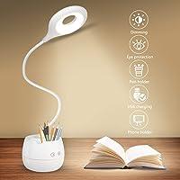 Lámpara de Escritorio LED,Lámpara de Lectura Regulable con 4 Brillos Lámpara de Mesa Recargable USB, para Estudio de…