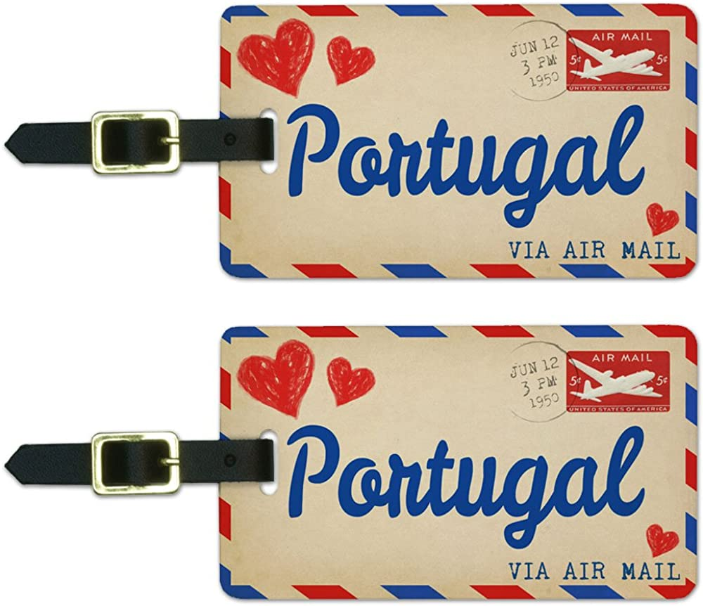 Graphics and More Air Mail Postcard Love for Portugal Luggage Suitcase Carry-On ID Tags Set of 2