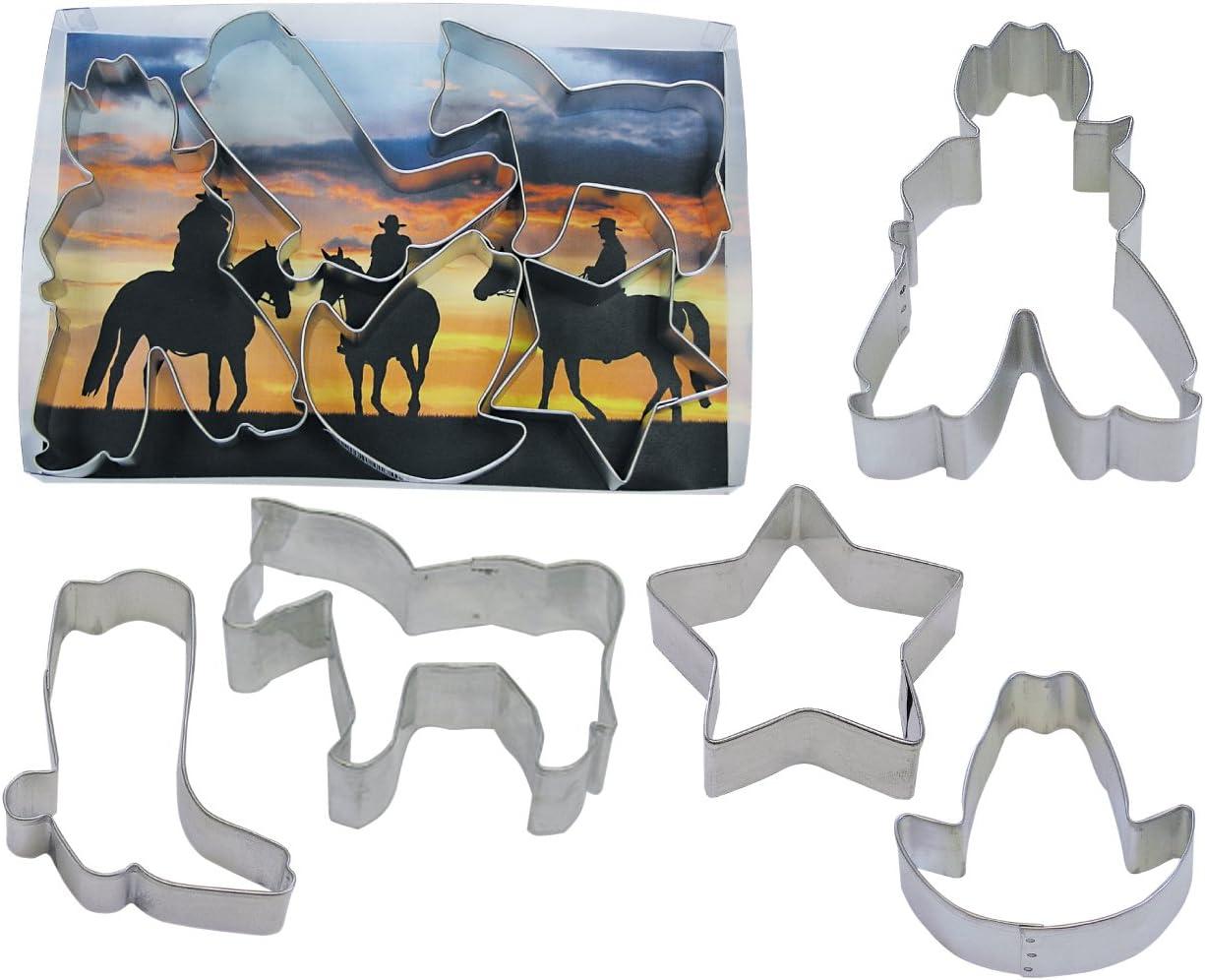 R&M International Cowboy Cookie Cutters, Star, Horse, Cowboy, Boot, Hat, 5-Piece Set