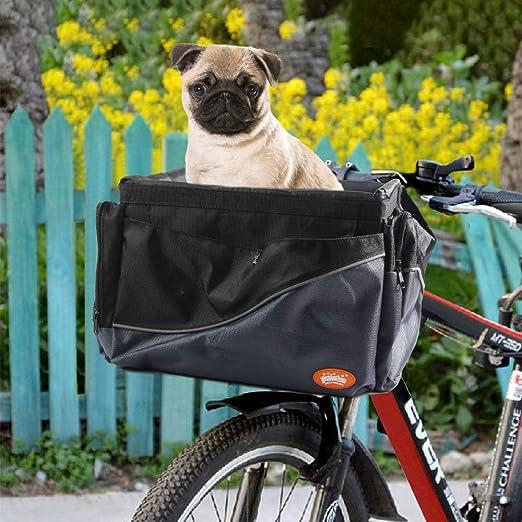 Vikaster Cesta Bicicleta Delantera Desmontable,Cesta Plegable para Bicicletas Bolsa de Transporte de Mascotas con Marco de Aleaci/ón de Aluminio Cesta Bici para Perros Gatos,Bolsa de Compras Ecol/ógica