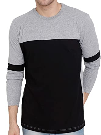 d4a2f6725cef GUTSY Men's Black and Grey Stylish Full Sleeve T-Shirt (X-Large ...