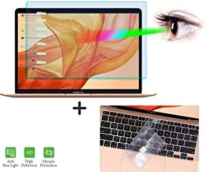Mabook Air 13 A2179 Screen Protector, Anti Blue Light Glare Screen Filter with Keyboard Cover for 2020 Macbook Air 13 A2179 Laptop Eye Protection Blue Light Blocking Screen Protector (NOT for A1932)