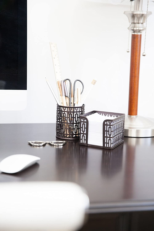 trendy office accessories. amazoncom blu monaco desk organizer office accessories set letter sorter pencil case and sticky note holder trendy trellis bronze products