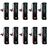 """TrendBox Pack of 10pcs 1x18650 3.7V Black Plastic Battery Storage Case Holder Clip Type with 6"""" Two Wire Spring Lead Flat Tip Single Li-ion Battery DIY"""