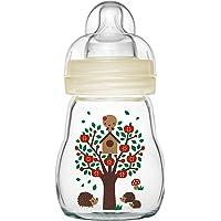 MAM Feel Good glazen babyflesje (170 ml), babyfles met brede opening, stabiele zuigfles met speentje in maat 1, vanaf 0…