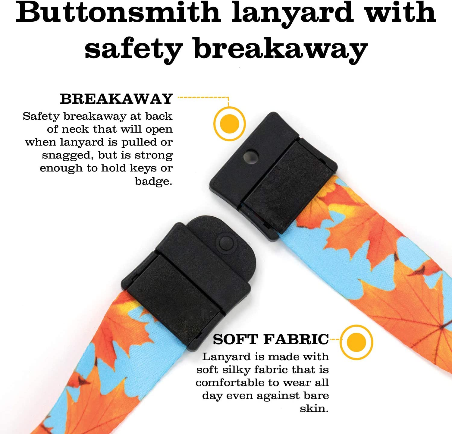 Buttonsmith Fall Leaves Breakaway Lanyard with Buckle and Flat Ring Made in The USA