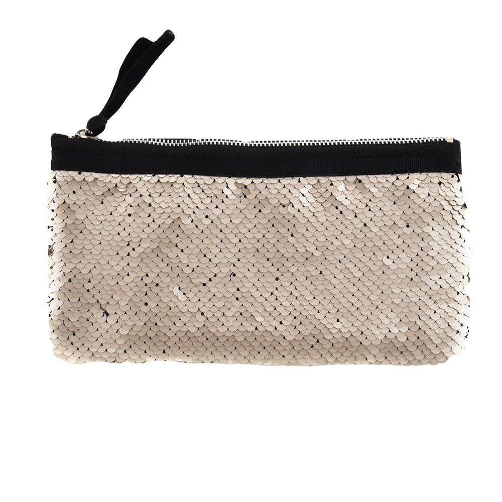 Clearance! Women Make-up Bag Double Color Sequins Coin Cards Holder Purse Wallet Pencil Pouch (Q)