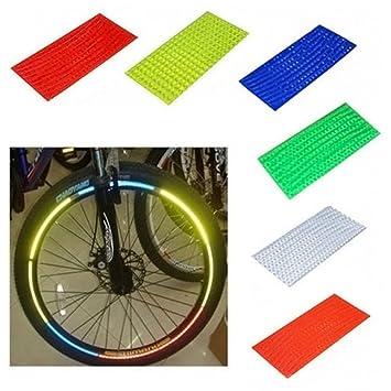 YUYOUG - Pegatina Reflectante para Llantas de Bicicleta MTB Fluorescente, 8x6 Colors