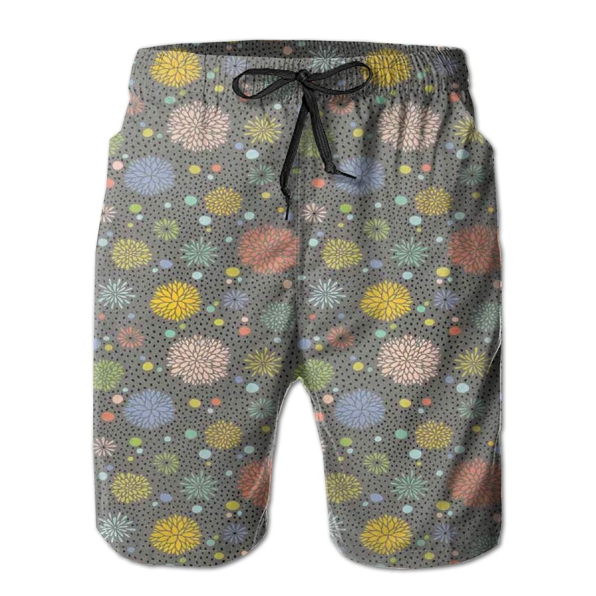 Men Swim Trunks Beach Shorts,Love Themed Flowers Hearts and Paisleys in A Colorful Romantic Illustration