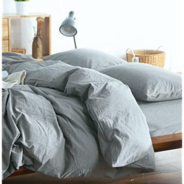 Eikei Washed Cotton Chambray Duvet Cover Solid Color Casual Modern Style Bedding Set Relaxed Soft Feel Natural Wrinkled Look (Queen, Cool Gray)