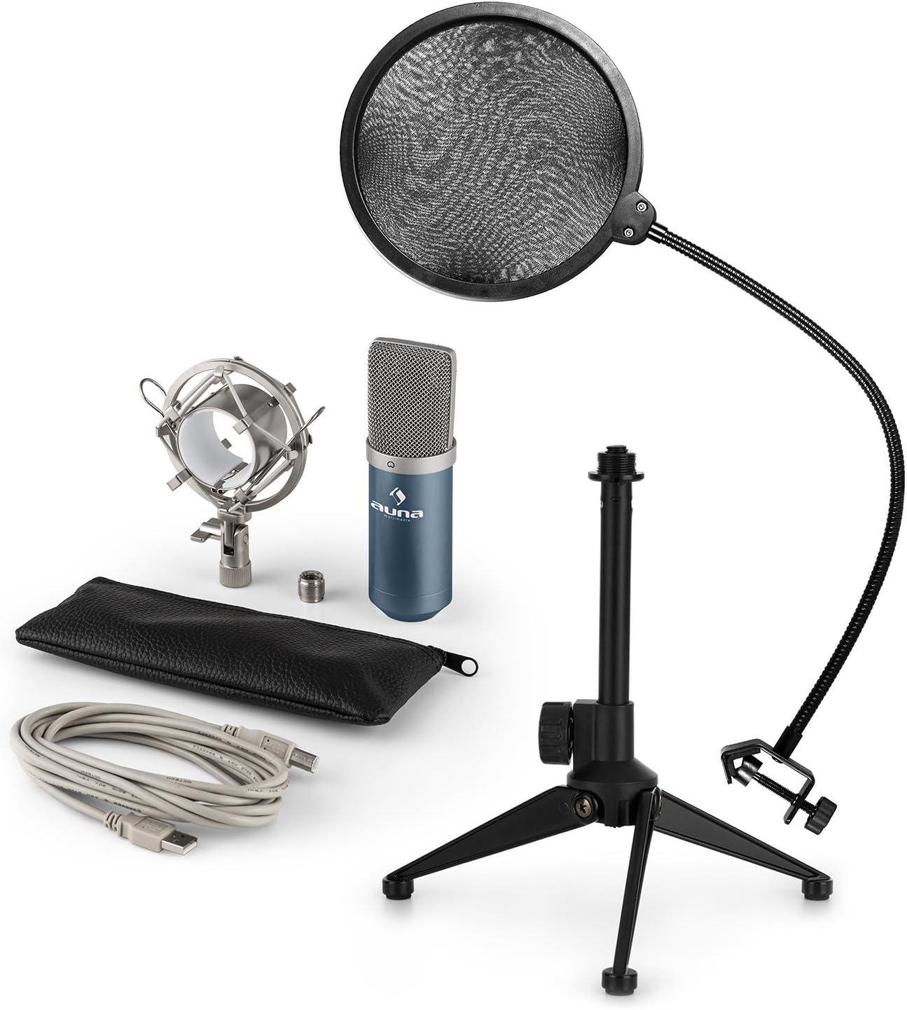 3-teilig H/öhenverstellbar Popschutz 35cm Schwanenhals auna MIC-900S-LED Plug /& Play Mikrofon-Set V2 silber USB Kondensatormikrofon Nierencharakteristik Mikrofon-Tischst/änder