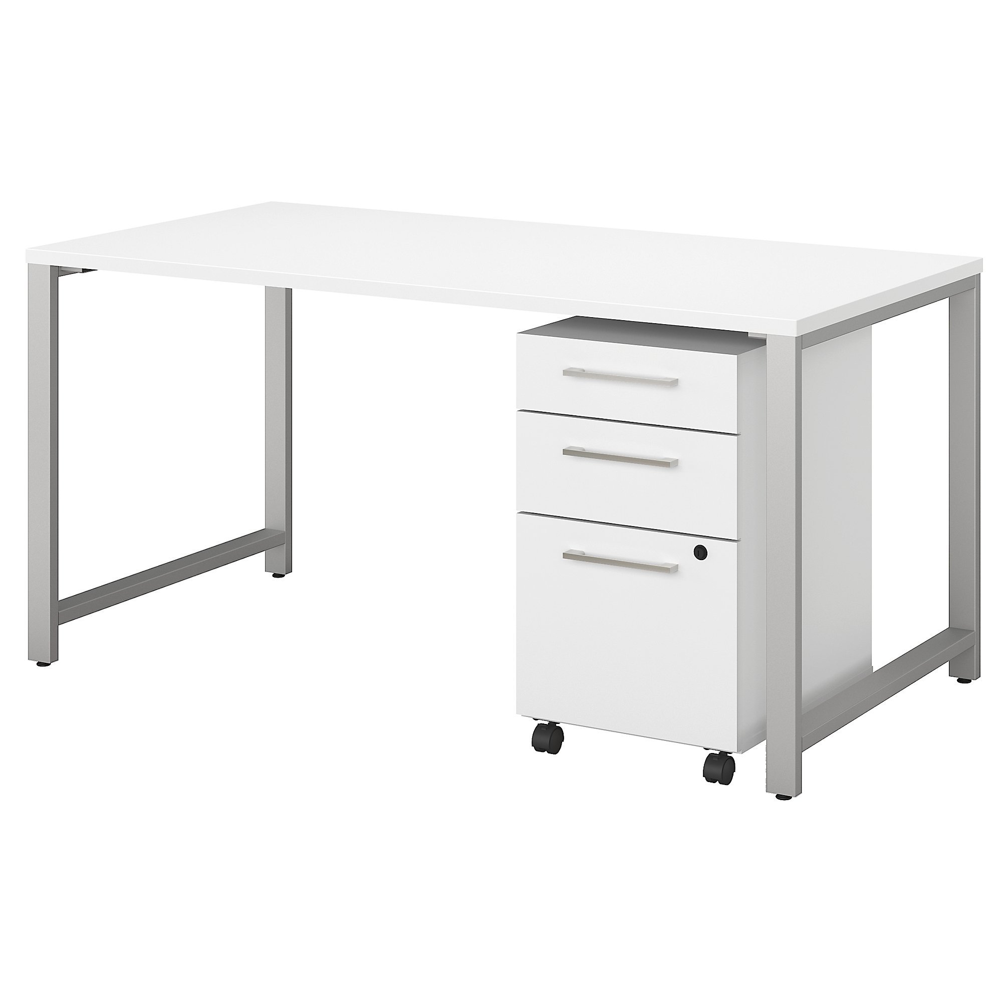 Bush Business Furniture 400 Series 60W x 30D Table Desk with 3 Drawer Mobile File Cabinet in White by Bush Business Furniture