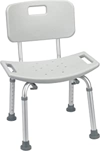 Drive Medical Bathroom Safety Shower Tub Bench Chair with Back, Grey
