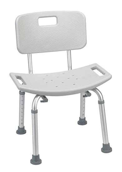 Bathroom Safety Shower Tub Bench Chair With Back, Grey