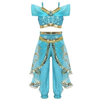 Agoky Disfraz de Princesa Jazmín para Niñas Traje de Lentejuelas Vestirse de Fiesta Halloween Cosplay Aladdin Conjunto de Tops y Pantalones 3-6 años: Ropa y accesorios