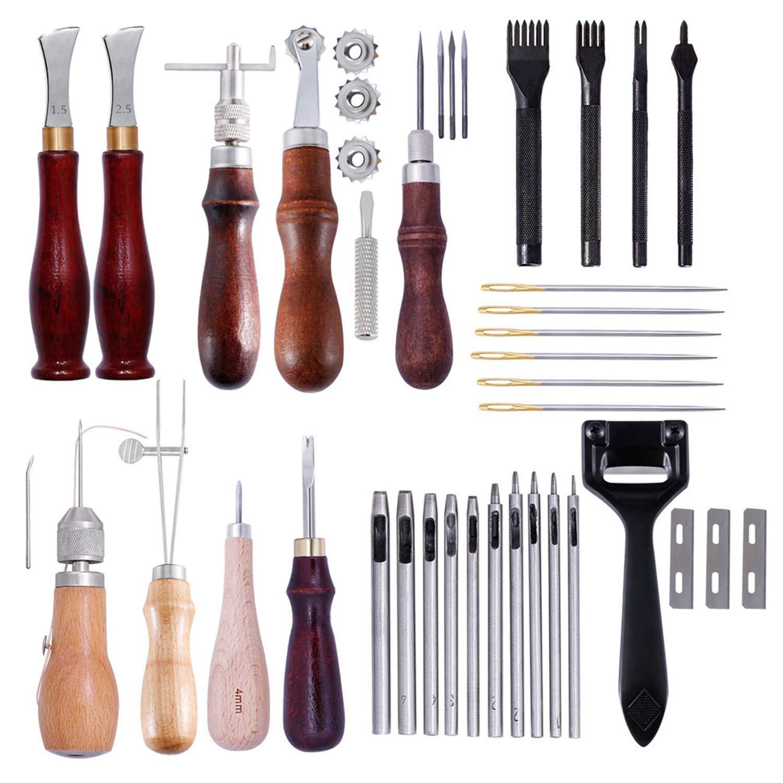 レザークラフト レザーツール 革工具セット DIYレザーツールセット、ダイヤモンドレザーアートツール、手作り、手縫いセット 工具 道具セット B07PNKLLBG