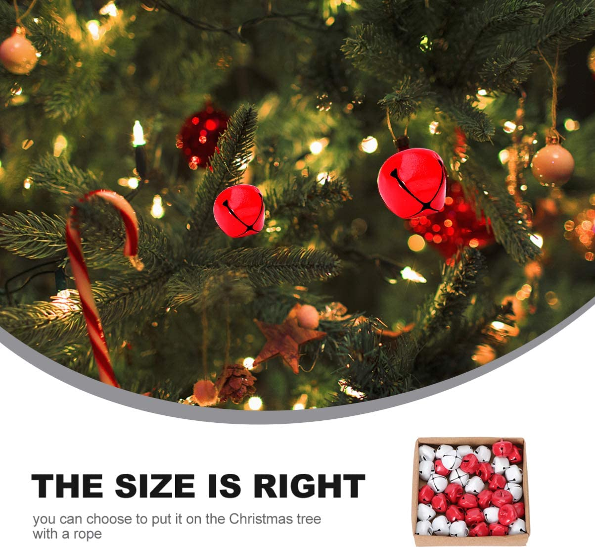 PRETYZOOM 36Pcs Jingle Bell Ornament Red White Mixed Set Sleigh Bell Decorations Christmas Hanging Decorations for Party Home Indoor