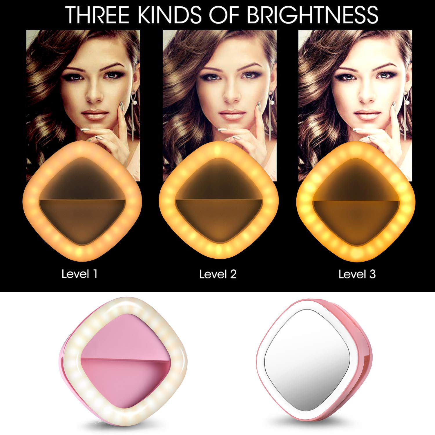 Selfie Ring Light, Solarxia Rechargeable Selfie Lights with Makeup Mirror[52 LED Bulbs][3-Light Mode][9-Level Brightness] for iPhone iPad  MacBook Laptop Android Camera (Pink)