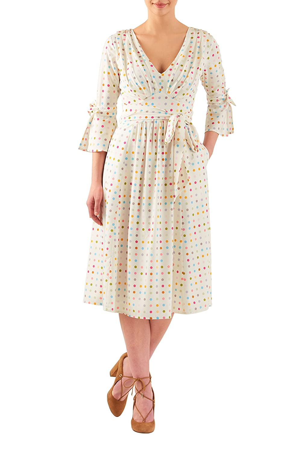 1960s Plus Size Dresses & Retro Mod Fashion Pleated polka dot print crepe midi dress $64.95 AT vintagedancer.com