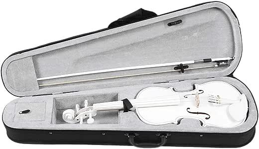 Kamenda - Violín de violín para principiantes (4/4, tamaño completo), color blanco: Amazon.es: Instrumentos musicales