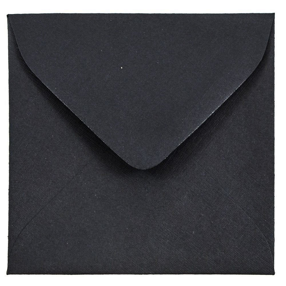 JAM PAPER 3 1/8 x 3 1/8 Square Invitation Envelopes - Black Linen - 100/Pack