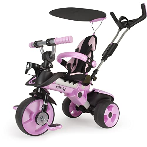 INJUSA Triciclo Evolutivo City Max Color Rosa Recomendado para Niños 6 Meses con Mango de Dirección Parental Techo Solar y Asiento regulable