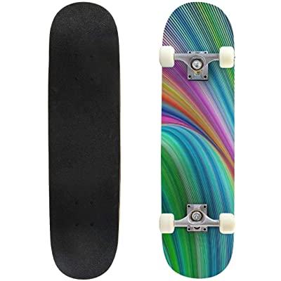 Classic Concave Skateboard Abstract Colorful Psychedelic Striped Fractal Art Background Longboard Maple Deck Extreme Sports and Outdoors Double Kick Trick for Beginners and Professionals : Sports & Outdoors