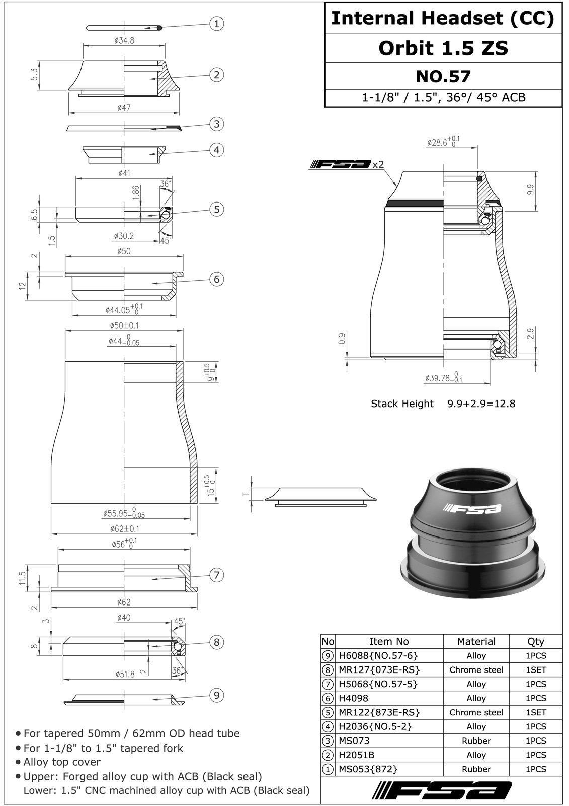 FSA No.57 Orbit 1.5 ZS 1-1/8''-1.5'' Sealed Bearing Tapered Headset #XTE1530