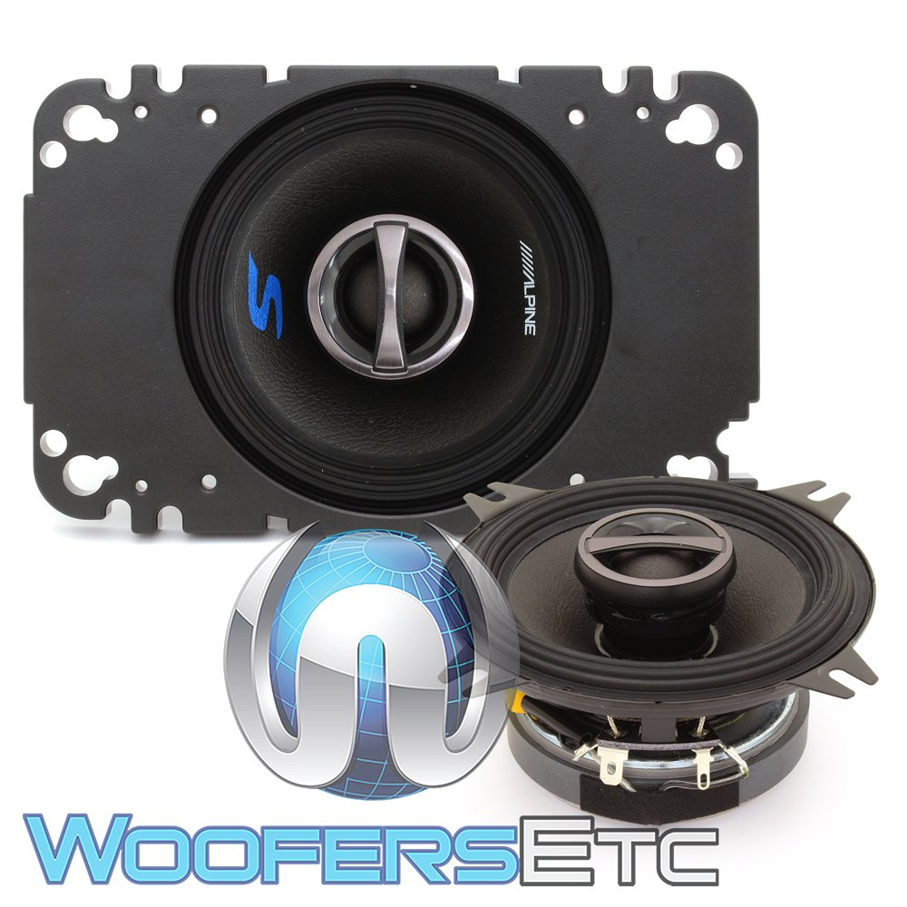 Alpine S S40 Series 4 Inch Coaxial 2 Way Speakers Speaker Wiring Diagram Pair Contains 4x6 Adapter Plate Electronics