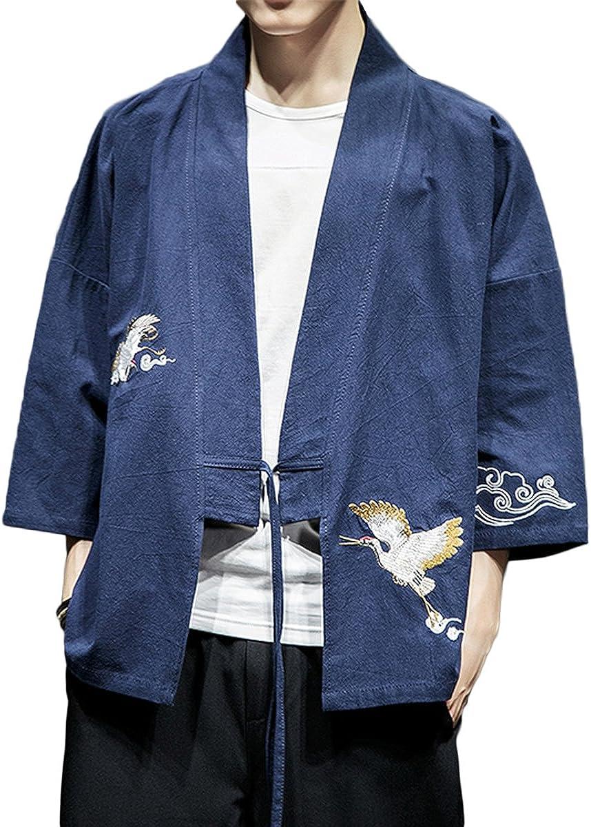 Chaqueta de kimono para hombre Mirecoo Haori cuello en V