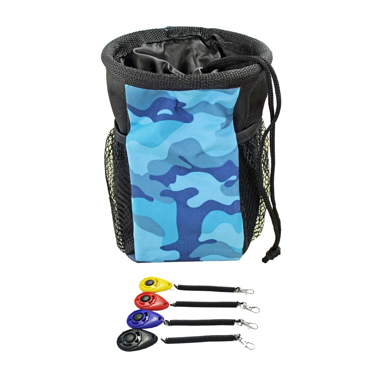 Ondoing Dog Training Clicker with Wrist Strap and Dog Treat Pouch with Adjustable Strap 1 Clicker + 1 Blue Camo Pouch