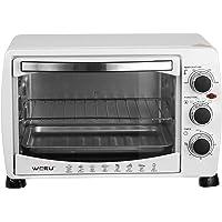 WOLTU BF09ws Mini Backofen 20 Liter Pizzaofen Doppelglastür mit Backblech und Drehspieß mit Timer 0-250°C 1400 Watt Weiß