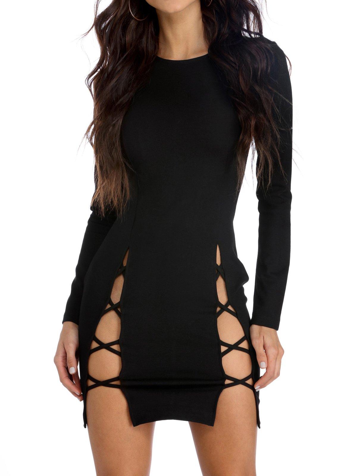 TOB Women's Sexy Summer Bodycon Long Sleeves Lace up Mini Club Dress Black