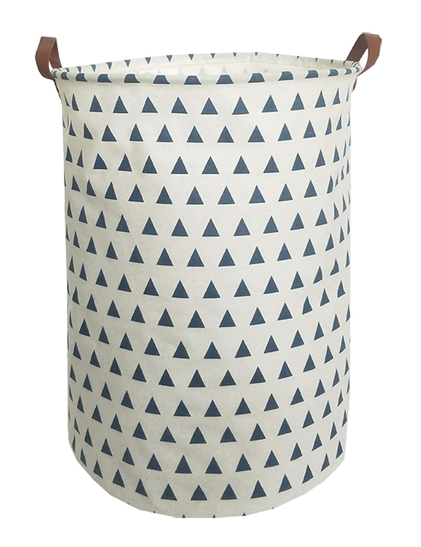 ESSME 大型収納ボックス キャンバス生地収納バスケット ハンドル付き 折りたたみランドリーバスケット 家庭用 ギフトバスケット おもちゃオーガナイザー  Blue Triangle B07LFXHVSK