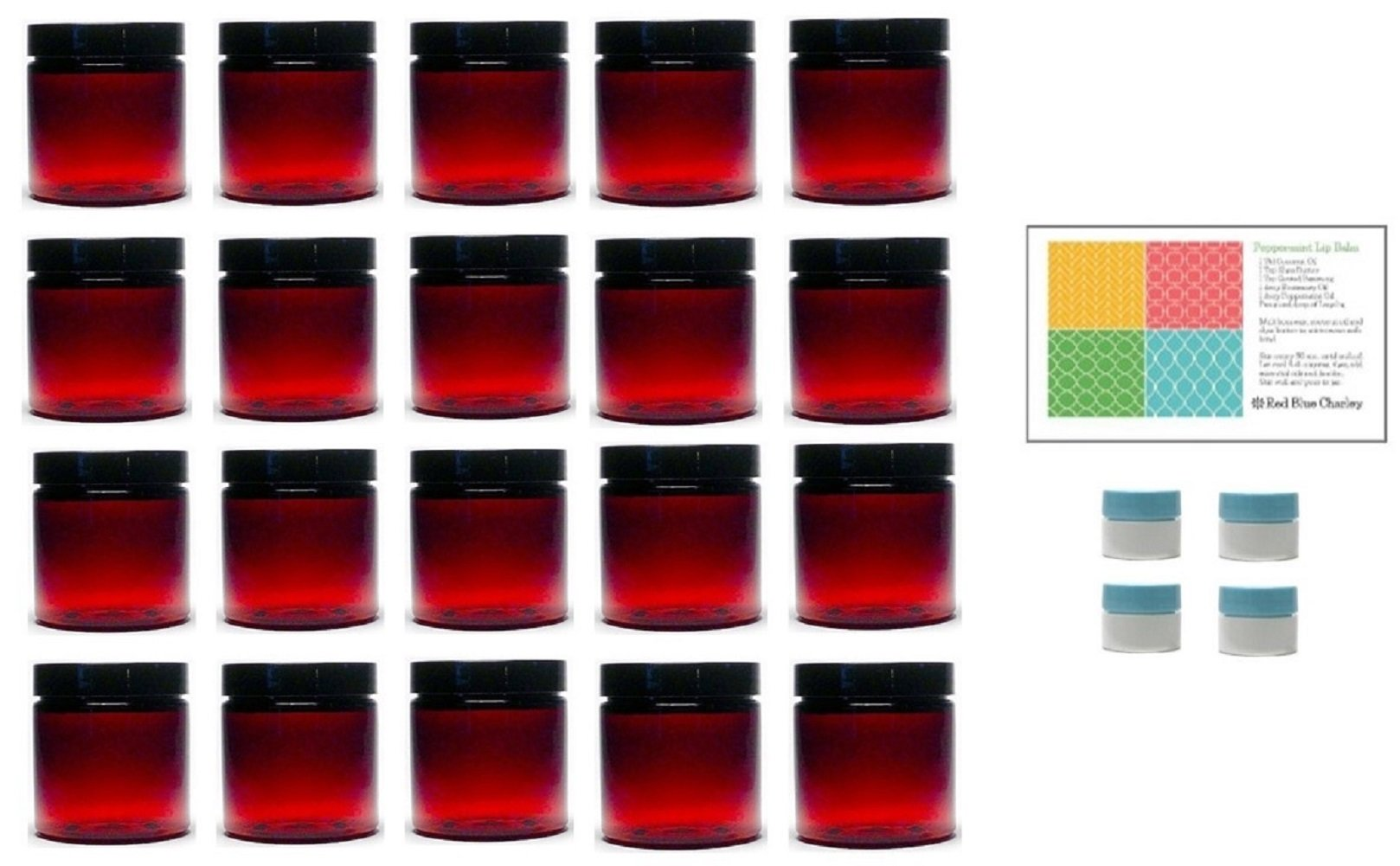Amber 8 oz Plastic Jars with Black Lids (20 pk) with Mini Jars - PET Round Refillable Containers