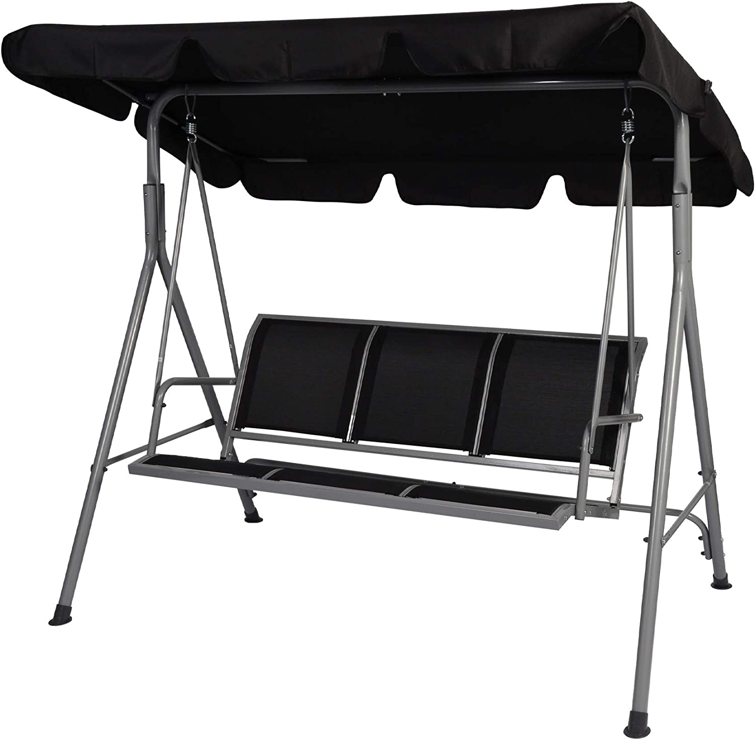 LUCKYERMORE 3 Person Patio Swing with Convertible Canopy-Weather Resistant Frame and Breathable Seat, Comfy Outdoor Swing Chair Bench for Porch Backyard Garden, Black