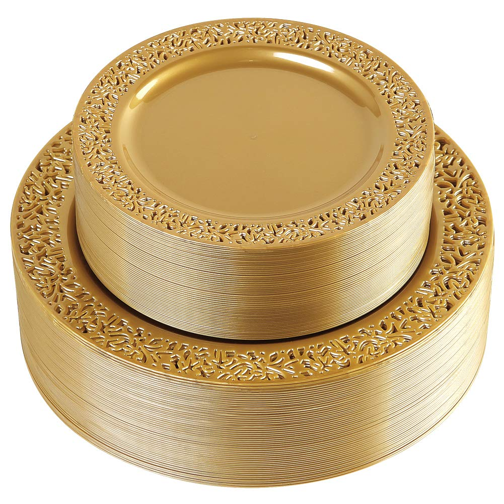 102 Pieces Solid Gold Disposable Plates, Lace Design Plastic Plates, Premium Heavyweight BPA Free Plates Includes: 51 Dinner Plates 10.25 Inch and 51 Salad / Dessert Plates 7.5 Inch